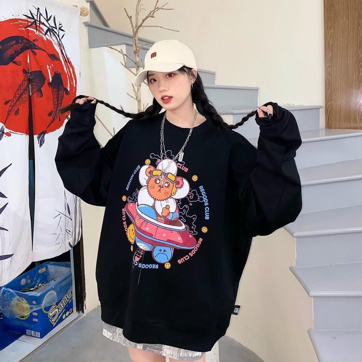 Áo sweater in đĩa bay đẹp, dễ thương