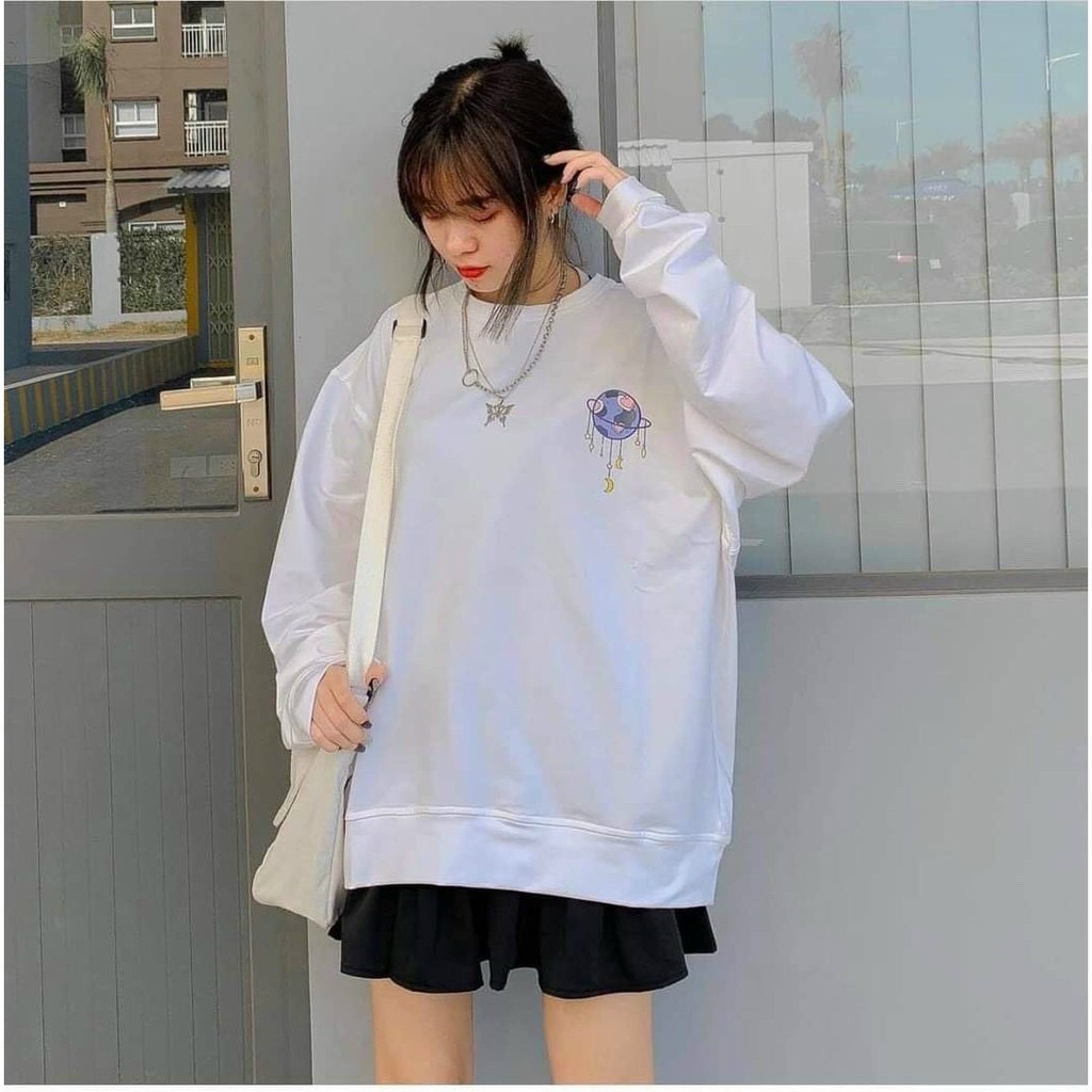 Áo sweater in quả cầu chất thun nỉ ngoại đẹp