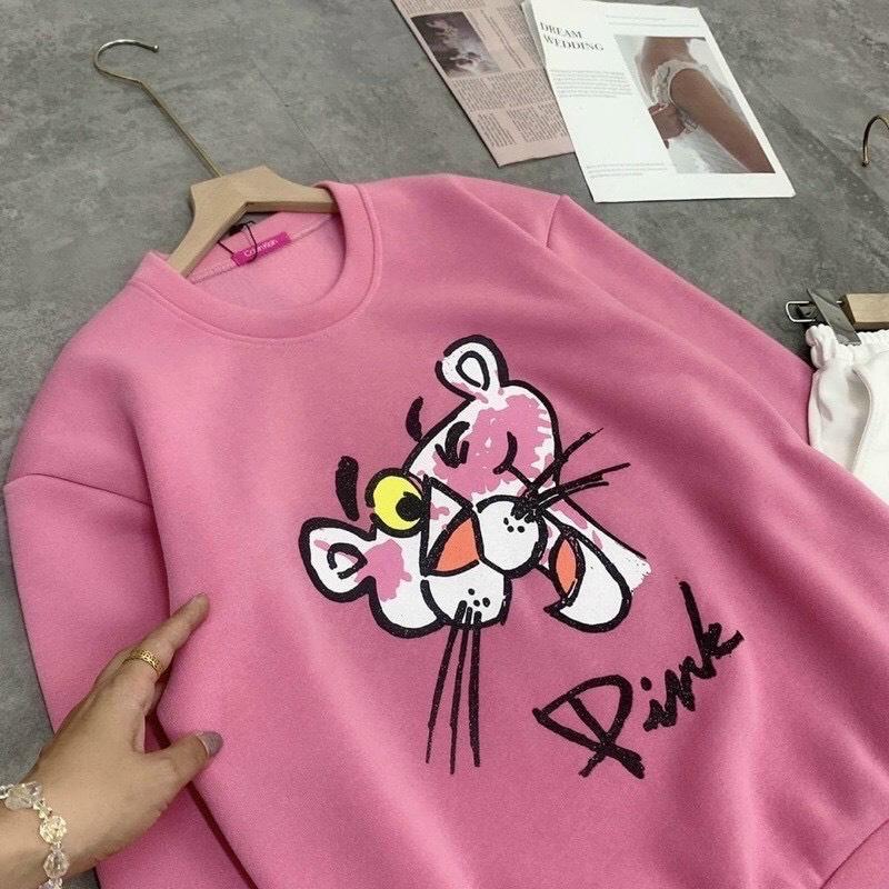Áo sweater nỉ ngoại in chú báo hồng cute, cá tính