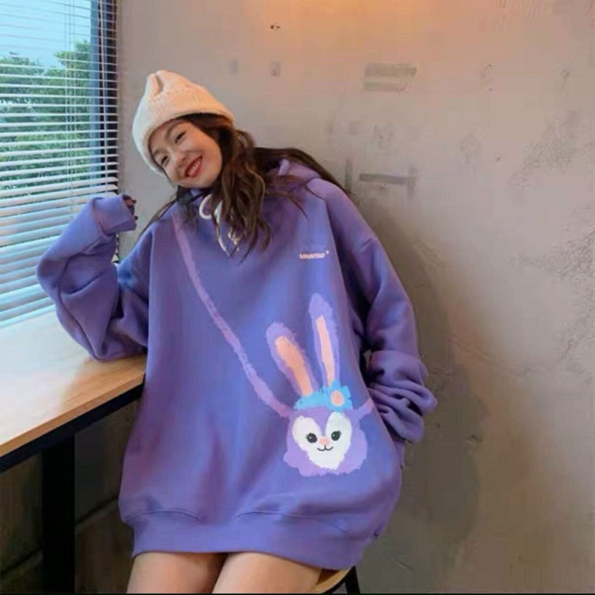 Áo sweater nỉ ngoại in hình thỏ dễ thương